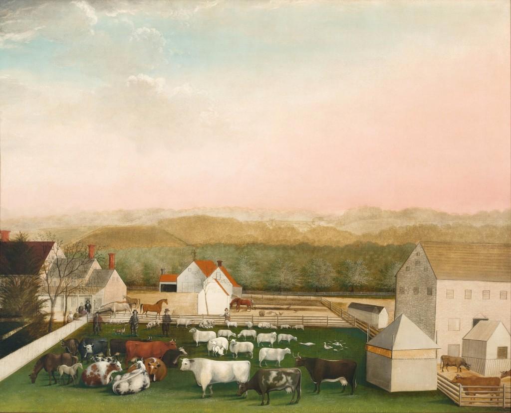 """Painted in 1849, """"Leedom Farm"""" is Hicks's last and best painting, according to organizers """"a summation of its predecessors, combining the artist's remarkable skill, his love of family and friends, and his innate Quaker values for order, simplicity and man's good works on earth."""" """"Leedom Farm,"""" Bucks County, Penn., 1849. Oil on canvas. Museum purchase, 1957."""