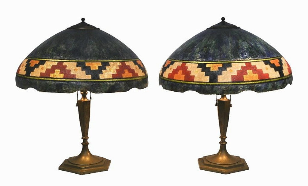 """""""The shades were very unique,"""" Baratta said of this pair of Handel table lamps with Native American motifs. An online bidder from Texas snapped up the pair for $19,200 ($5/7,000)."""