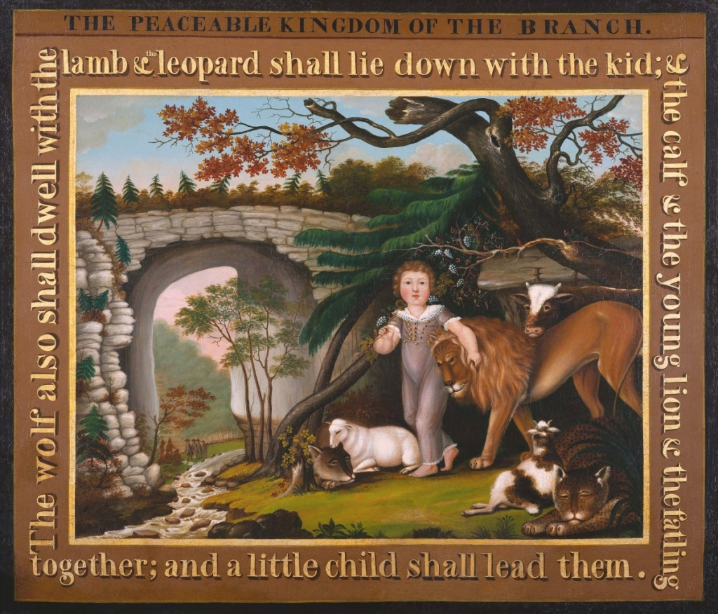 """""""Peaceable Kingdom of the Branch,"""" Bucks County, Penn., 1822-25. Oil on canvas. Museum purchase, 1967."""