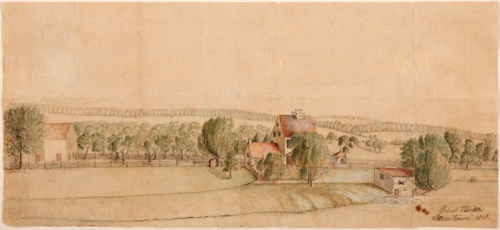 Landscape view, Newtown, Penn., 1818. Watercolor and graphite on laid paper. Museum Purchase, 2017.