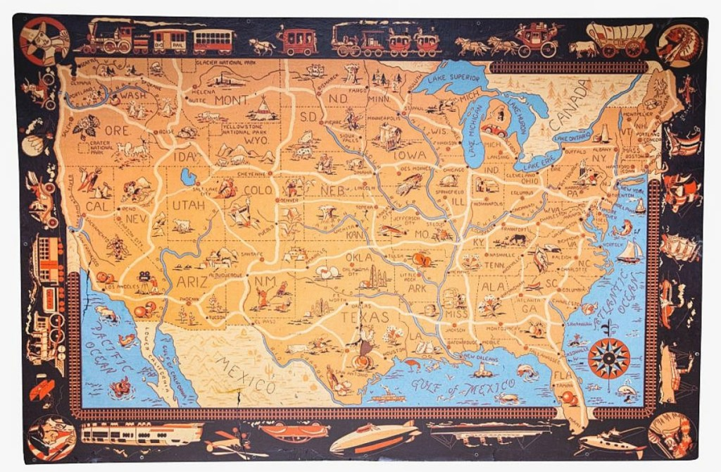 Bringing $6,000 from a trade buyer on the phone was this large frontier map of the United States, circa 1950-75, which had an estimate of $300/400.