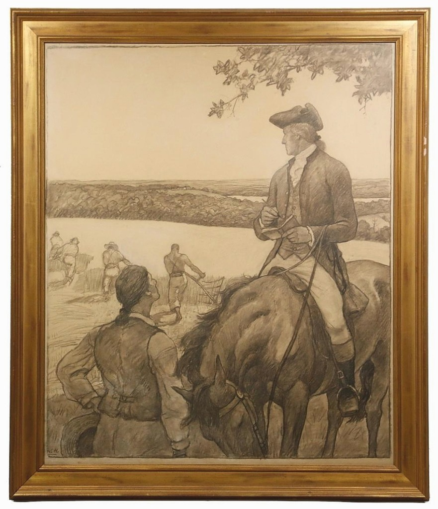 """At $108,000, N.C. Wyeth's unfinished charcoal drawing """"First Farmer of the Land,"""" showing George Washington overseeing work on his plantation, was the highest priced item in the sale. It was hanging in his studio next to the oil painting, which he had been working on just hours before his death."""