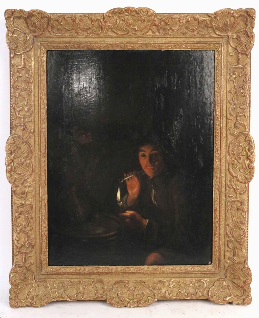 "Bringing $44,280 from a New England private collector was this Old Master oil on panel painting titled ""Man Lighting a Pipe,"" attributed to Godfried Schalcken (Dutch, 1643-1706). Formerly in the collection of Martin Wunsch, the 14-by-11-inch painting had been included in the Currier Gallery of Art's 1975 exhibition, ""Dutch Life in the Golden Age."" ($1,5/3,000)."