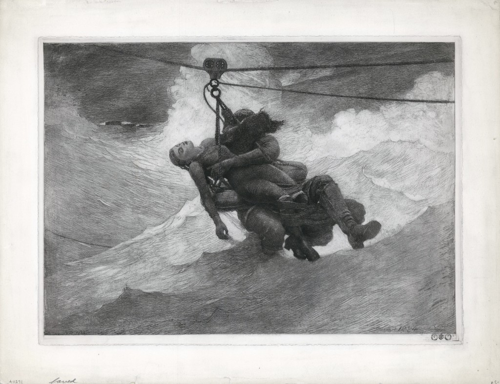 """A choice work currently in stock at The Old Print Shop is """"The Life Line,"""" Winslow Homer's etching of 1884."""