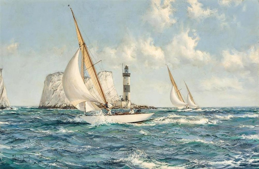 "A British buyer acquired Montague Dawson's ""The Needles (Passing the Lighthouse)"" for $93,750, sailing past its estimate of $60/80,000."
