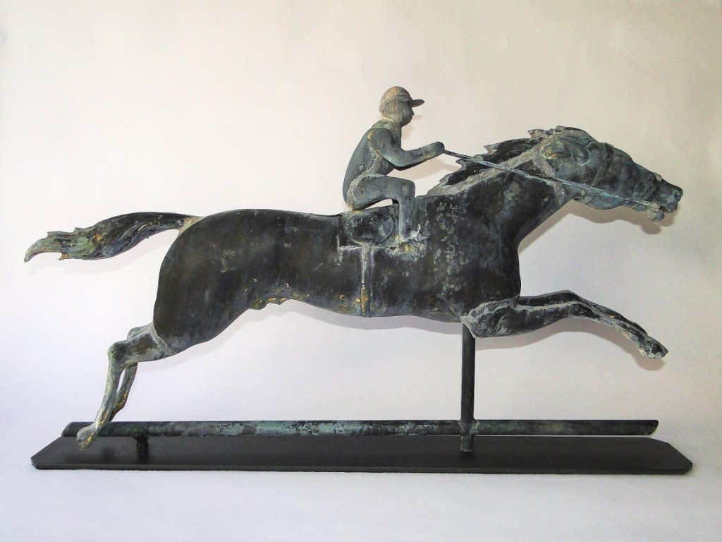 This large copper, brass and zinc horse and jockey weathervane was attributed to J.W. Fiske of New York City and dated to circa 1870-90. Sourced from a western Massachusetts collection, it sold for $4,250 and is staying in New England ($ ,000).