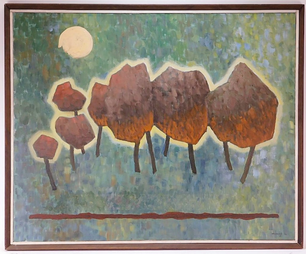 """The highest price achieved by one of five works in the sale by Robinson Murray was """"Trees Under Full Moon,"""" which brought $1,750 from a private collector in the United States. As it happens, the result set an auction record for the artist. ($1/1,500)."""