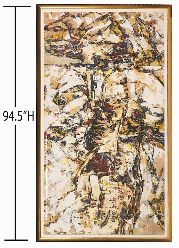 A 1955 oil on canvas abstract painting by Ernest Briggs Jr (American, 1923-1984), 94½ by 52 inches, brought $37,500.