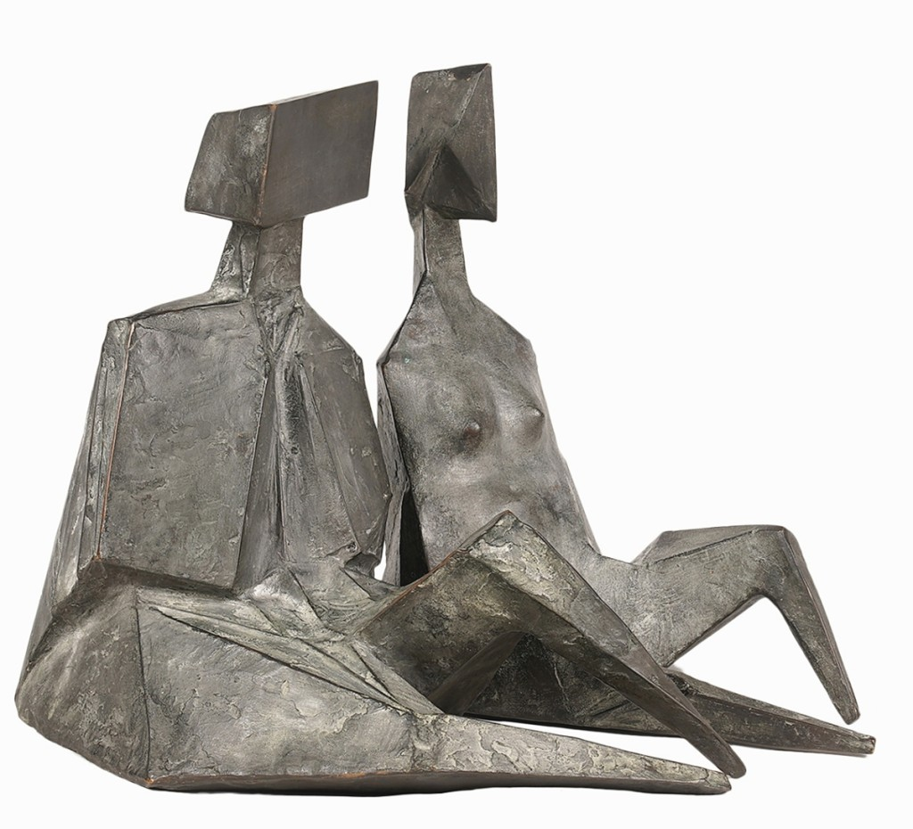 """Fetching $94,500 was the bronze sculpture """"Pair of Sitting Figures II,"""" 1973, by Lynn Russell Chadwick (1914-2003). They had been authenticated by the British sculptor's daughter, Sarah Marchant."""