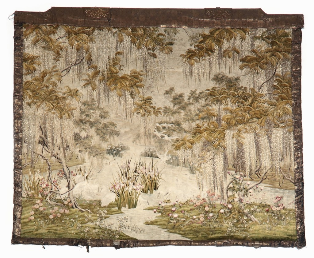 A Japanese Meiji period silk embroidered wall hanging brought $36,580.