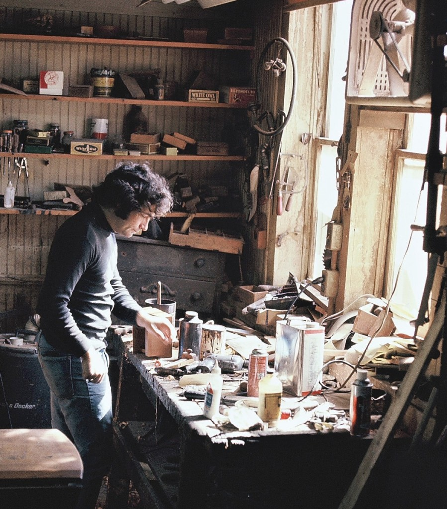 Arthur, here in the workshop around 1976, learned woodworking fundamentals from Liverant Antiques' longtime cabinetmaker, Konstantin Haliw.
