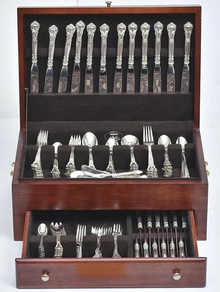 Leading all flatware in the sale was this set of 239 pieces from Gorham in the Chantilly pattern that sold for $5,750. It belonged to a collection of flatware offered throughout the sale from a Southport, Conn., estate.
