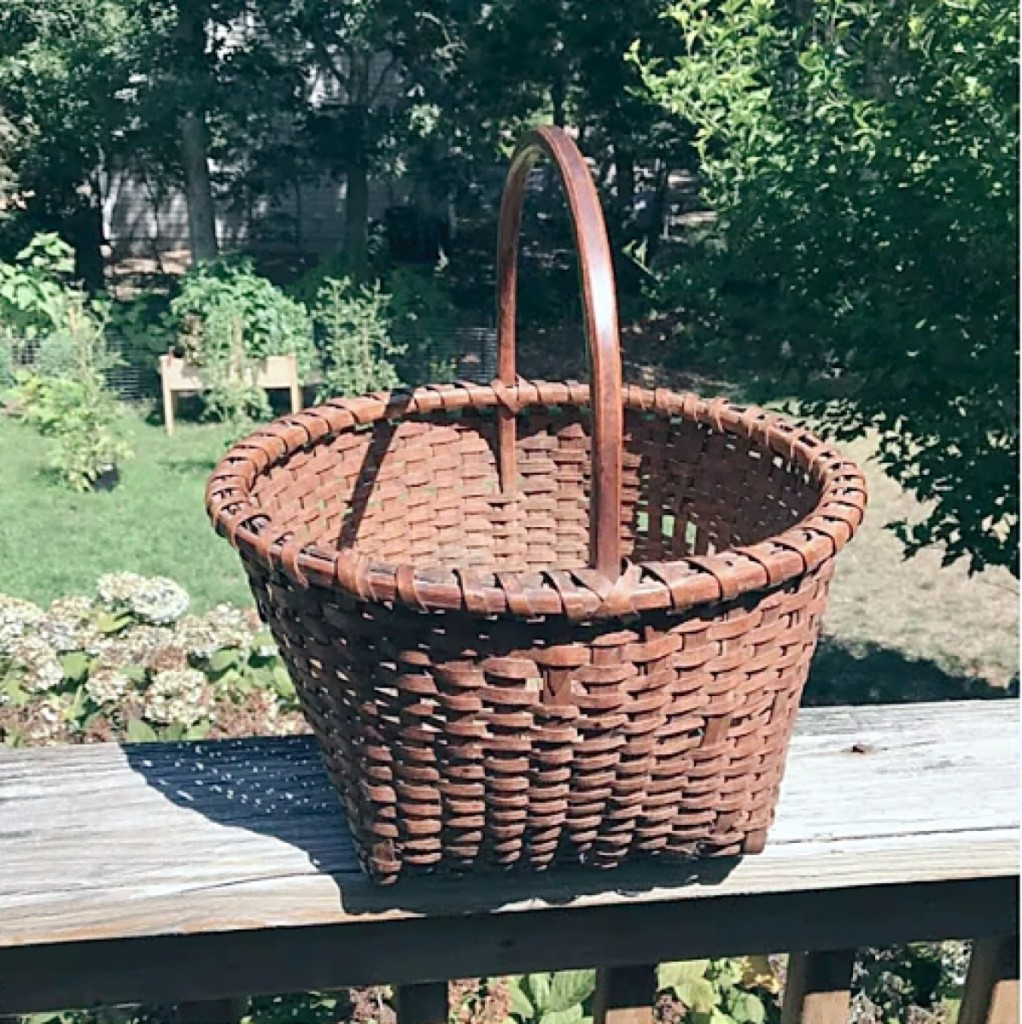 It was sold as is, and the asking price was a mere $69 for this antique Nineteenth Century Shaker-style splint wood-handled gathering basket that had been found at an old Cape Cod estate sale. Carl Goveia Antiques.