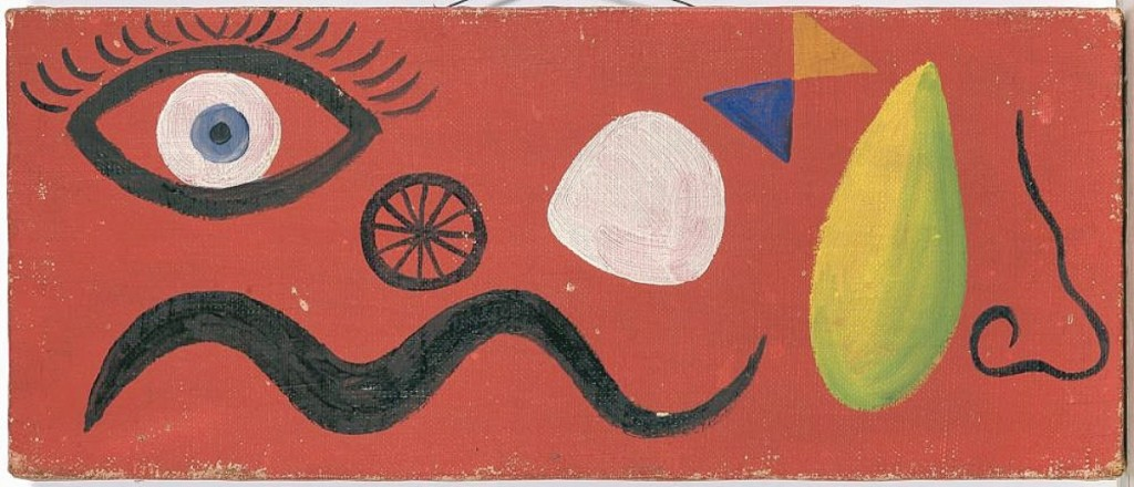 A sweet and small piece at 5¾ by 15-  inches, this untitled oil on canvas mounted to board painting by Alexander Calder sold for $137,500. After installing a Calder mobile at the Terrace Plaza Hotel in Cleveland, Calder gifted the work to the hotel's commissioned designer Benjamin Baldwin.