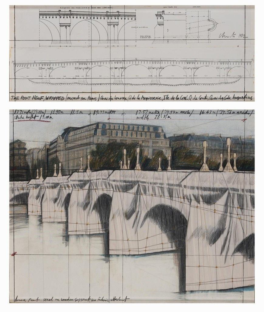 Christo and Jeanne-Claude wrapped the Pont-Neuf, Paris' oldest bridge, in 1985. The artists created this rendered work three years earlier and later sold it directly to the consignor. On the heels of Christo's death this year, the work brought a healthy $156,250, and Angelo Madrigale said he had plenty of international interest on it.