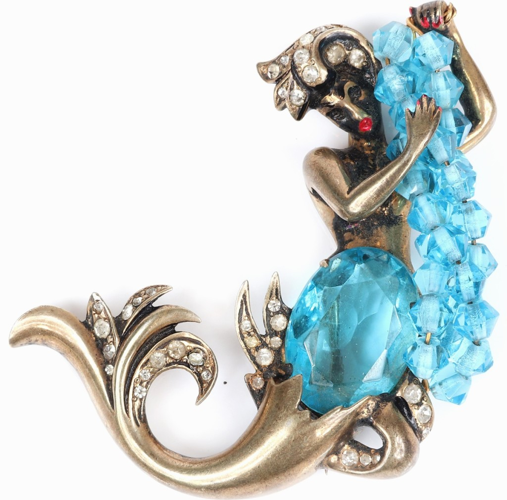 The sale's top lot was found in this sterling vermeil mermaid brooch with aquamarine crystals. The firm had sold other Eisenberg mermaids in the past and noted that it was one of the more valuable of the company's designs on the secondary market, though they had never had one with aquamarine crystals. This sold for $4,500.