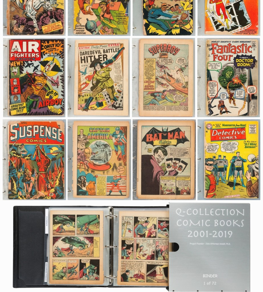 In 2001, when John Offerman Sindall, PhD found a rare 1939 copy of New York World's Fair, the forerunner of DC's World's Best Comics, a restorer related to him that all comics would turn to dust with enough time — even encapsulated issues — as a result of the paper they were printed on. Thus began the Q-Preservation Project, where Sindall amassed 278 Golden Age and Silver Age key comics and 460 comic book-related items and had them disassembled and each page laminated using long-life UV resistant Mylar material. The project grew to 72 binders and the whole collection sold for $120,000.
