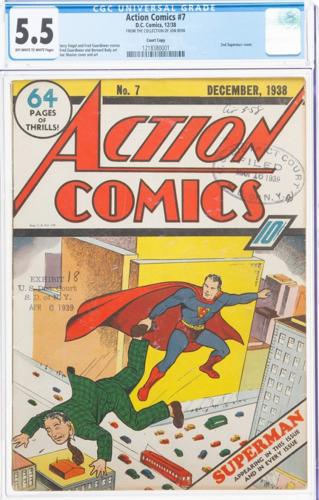 This particular copy of Action Comics #7 is perhaps more importantly known as Exhibit 18 in a 1939 lawsuit filed by DC against Fox and Bruns Publications claiming copyright infringement over the latter's use of Wonder Man. While the lawsuit would ultimately generally allow Herculean superheros that resembled the talents of DC's Superman, it protected Superman lookalikes and those who performed specific acts that copied DC's original storylines. The decision would lead to Bruns discontinuing Wonder Man and would serve as precedent in the 1951 DC lawsuit against Fawcett Publications over their modeling of Captain Marvel, which ultimately was found in favor of DC and bankrupted Fawcett. The issue, graded CGC FN 5.5 sold for $204,000.
