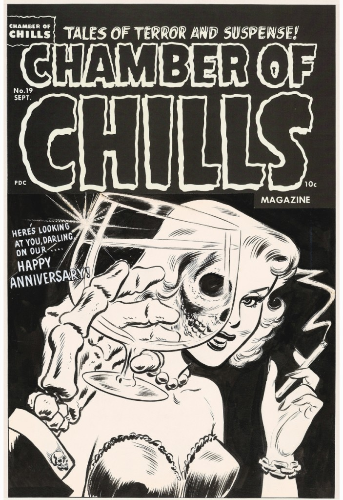 """Bringing $174,000, the top end of its estimate, was Lee Elias' ink over graphite on Bristol board cover art for Chamber of Chills #19, published in 1953. The image was reprised as the cover art for the 1984 EP """"Die, Die My Darling"""" by the Misfits."""
