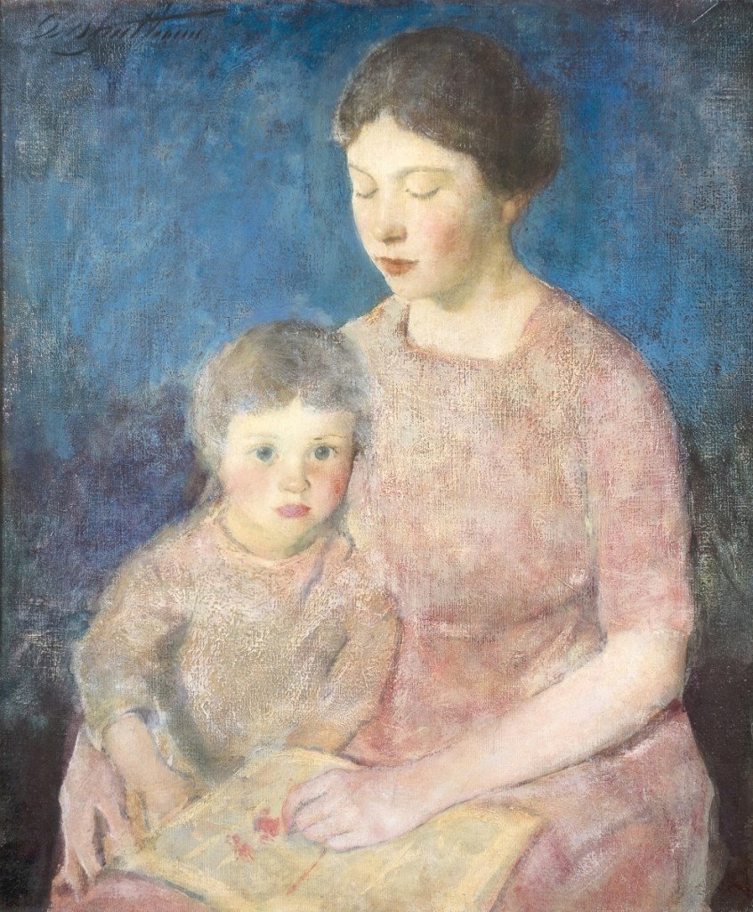 """""""The Story Book"""" by Charles Webster Hawthorne (1872-1930), circa 1917, oil on canvas mounted to board, in an original Carrig-Rohane frame. Vose Galleries."""