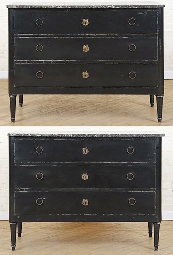 The second day of sales was led by a pair of ebonized marble top commodes in the Directoire style that sold for $8,125. Kamelot said they were made in the 1940s.