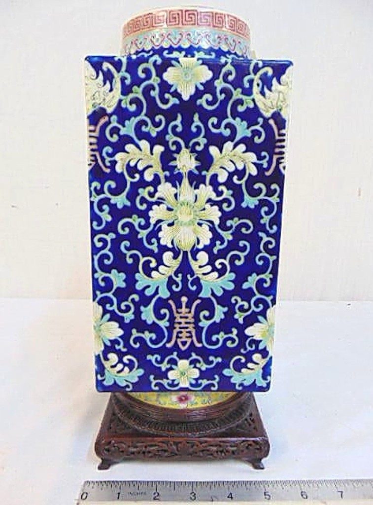 Setting the high bar early in the sale was this Chinese square porcelain vase with floral decoration. It came from by a private consignor and sold to a Chinese buyer in Long Island, bidding online, for $8,750.