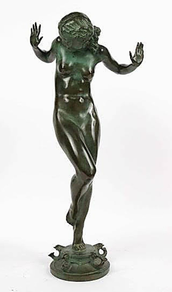 """Scherzo"" by Harriet Whitney Frishmuth led the sale with a private American collector from the Mid-Atlantic states on the phone splashing out $61,500 for the nearly 2-foot-tall bronze fountain. It had been cast in 1929 by the Gorham Company founders and was from the estate of Margaret Hull Chalif ($25/50,000)."