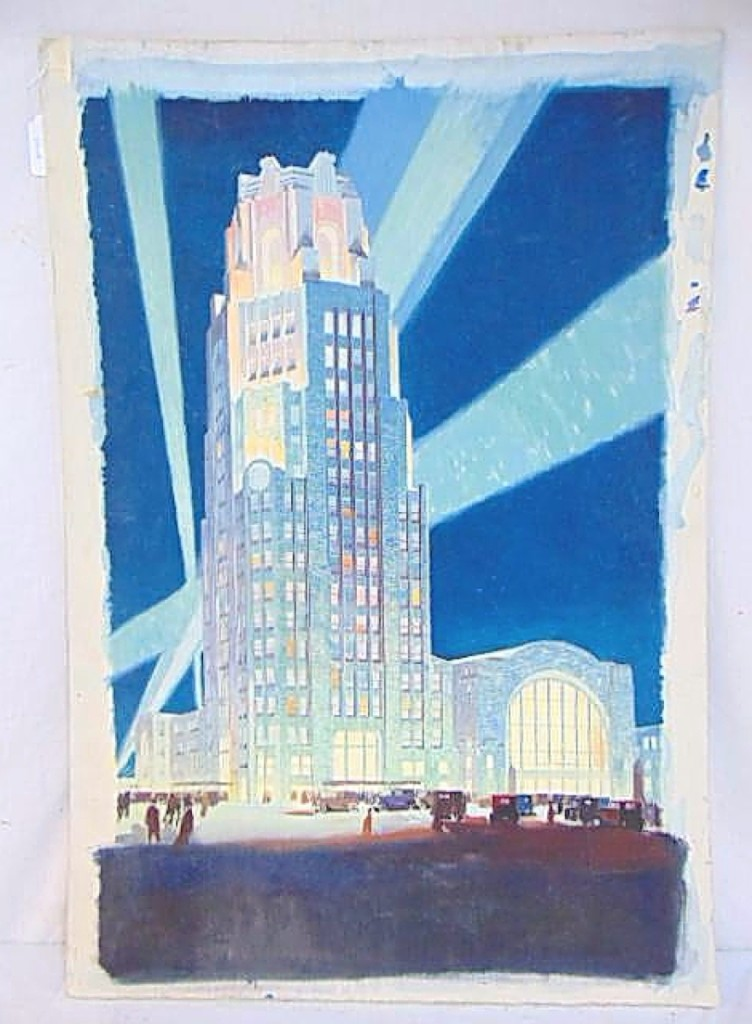 Hudson Valley Auctioneers was selling the estate of Floyd Yewell and this watercolor study by Yewell, one of his most well-known posters, was one of two lots to achieve the top price in the sale. A private collector, bidding online, acquired this work for the New York Central Lines that depicted the Central Terminal in Buffalo, N.Y., for $8,750.