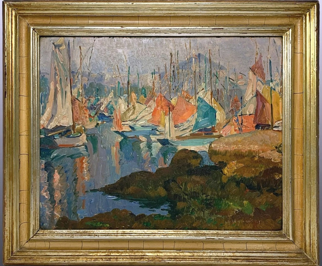The sale's top lot was found in a 13-by-16¼-inch oil on canvas harbor scene by Abel Warshawsky (1883-1962) that sold for $8,050. The buyer believed this painting was executed during the artist's 30-year stay in France.