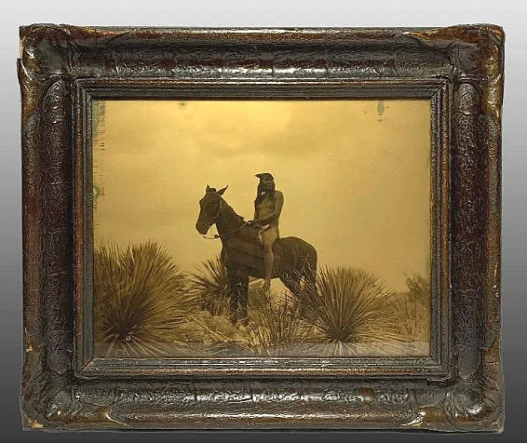 """An Edward Curtis goldtone photograph, """"The Scout,"""" sold for $3,162. It featured the original batwing frame and had provenance from the Andy Warhol collection."""