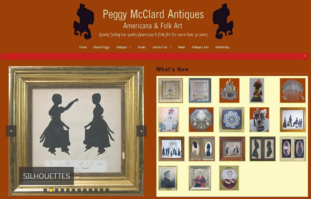 Silhouettes, portraits and framed folk art find new homes in the monthly update at Peggy McClard's website, www.peggymcclard.com.
