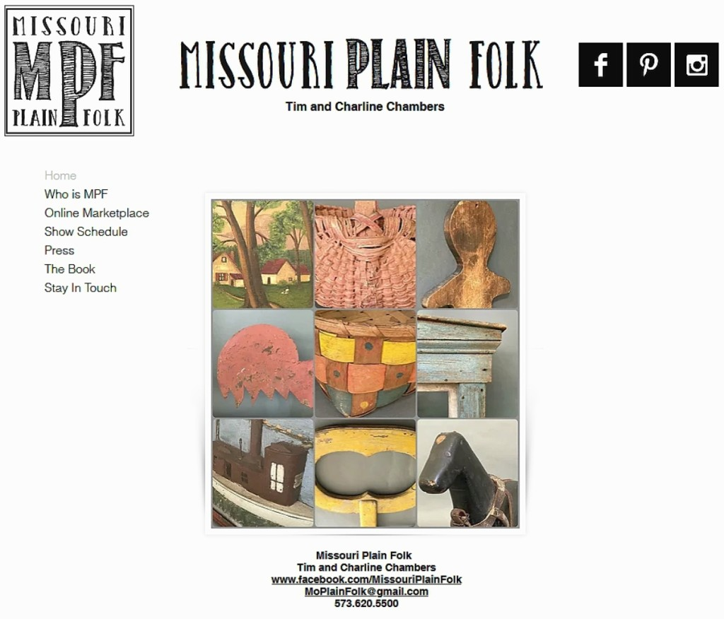 In their inaugural site update sale, Tim and Charline Chambers of Missouri Plain Folk sold a dozen, or about half of the offerings they uploaded. The site is viewable at www.missouriplainfolk.com