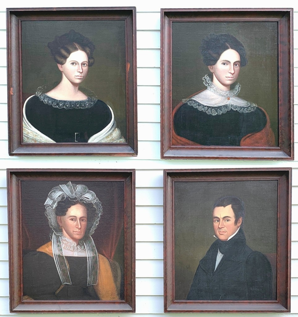 Auctioneer Josh Steenburgh said these portraits by Zedekiah Belknap (Mass./N.H./Conn., 1781-1858) may have depicted the Wilson family of Marlborough, Mass., and they sold to a collector for $4,250. Steenburgh noted that they were among the best portraits he has handled by the artist.