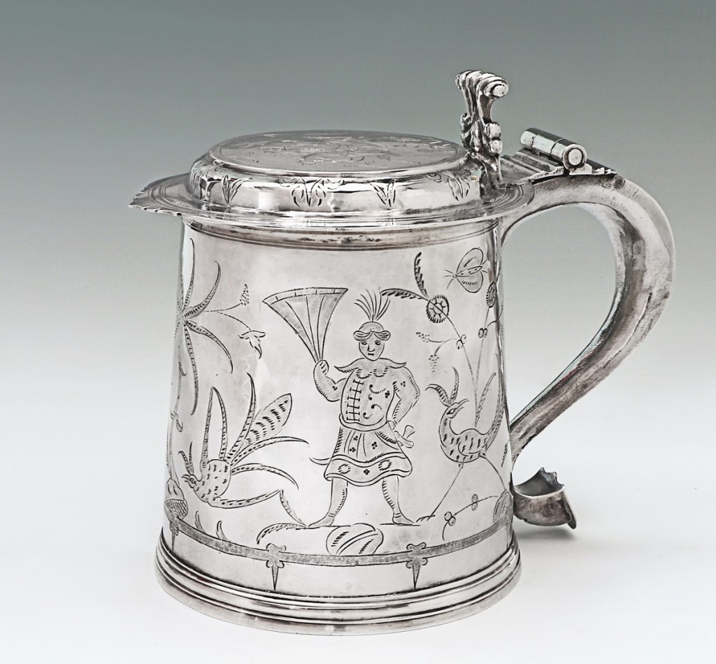 Charles II tankard with chinoiserie decoration by John Sutton, London, 1683. Silver, height 6 inches. S.J. Shrubsole Corp.