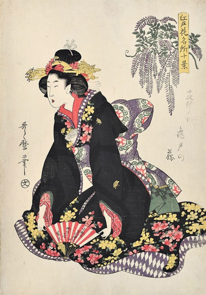 """Ten Views of Famous Floral Places in Edo: Wisteria at Kameido"" by Kitagawa Utamaro (1753-1806). From ""Composing Beauty"" at Scholten Japanese Art, New York City."