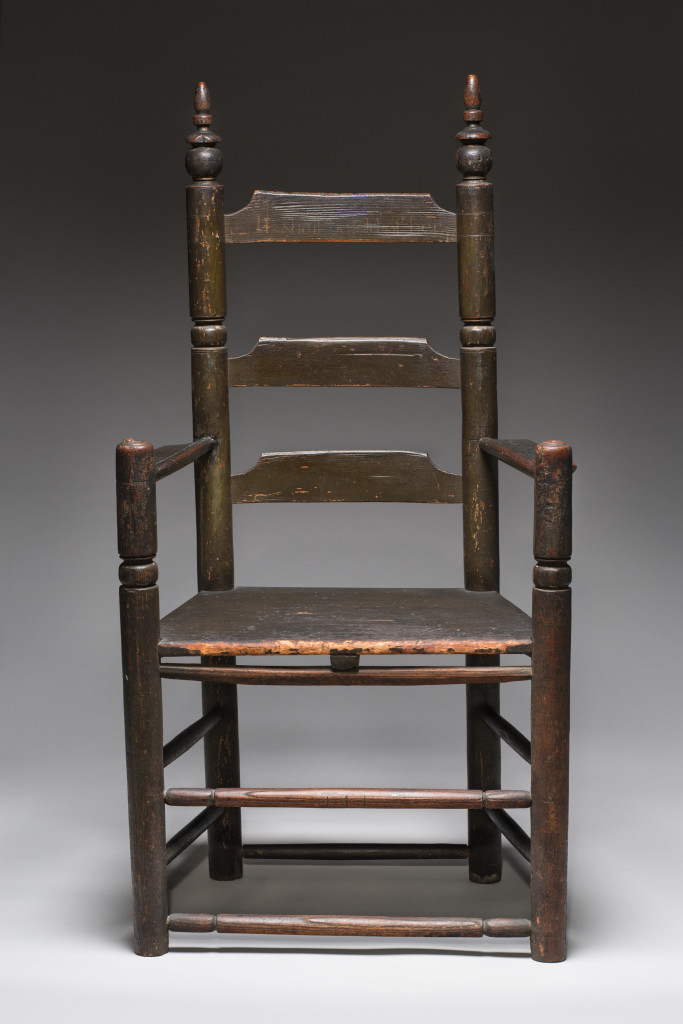 Turned great chair owned by Philip and Mary English, circa 1674, attributed to Samuel Beadle Jr (U.K./Salem, Mass.,1643-1706). Oak and pine. Gift of Mary R. Crowninshield, 1908.