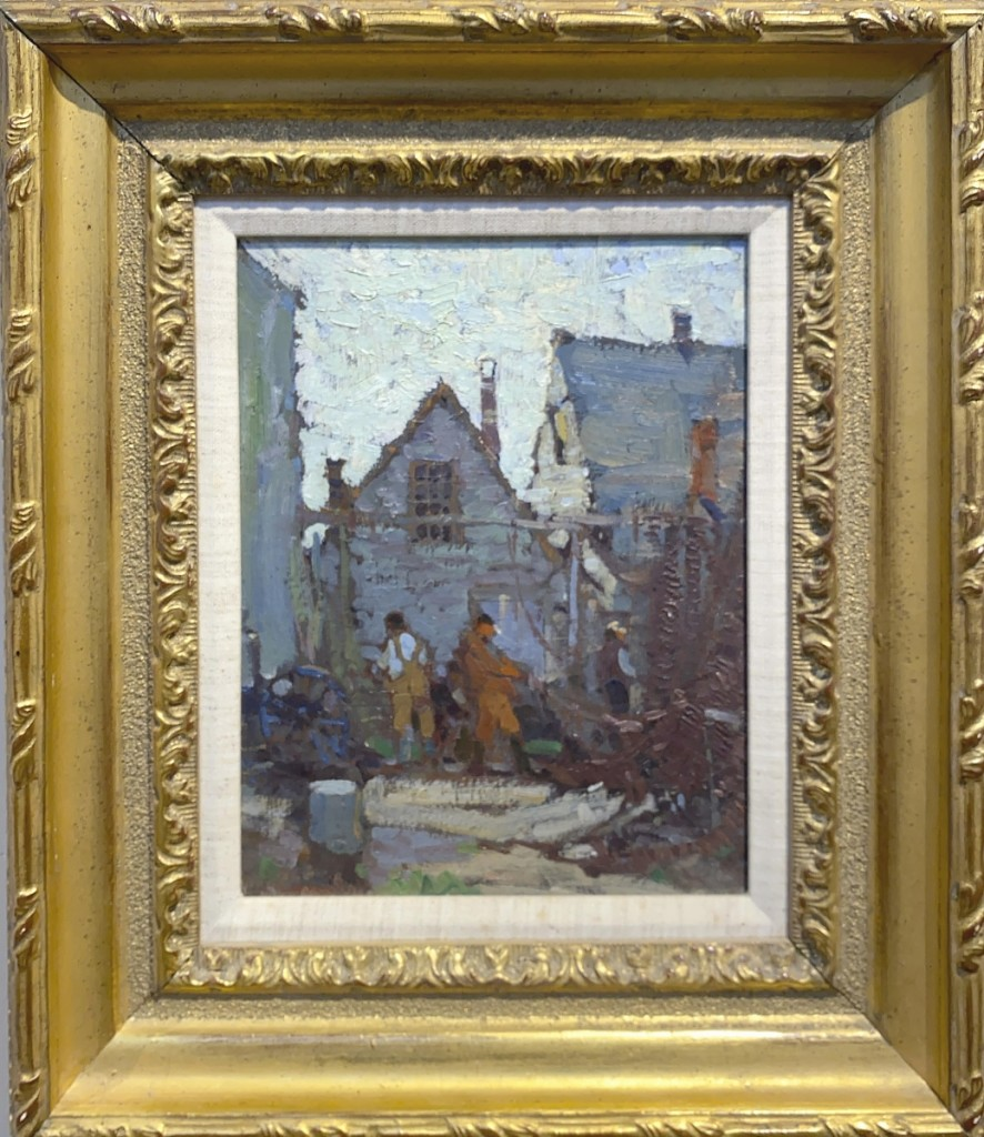 """A surprising result was $8,610 realized for Harry A. Vincent (1864-1931), """"Net Menders, Cape Ann,"""" a small oil on board work that measured just 10 by 8 inches and sold to a trade buyer bidding online ($2/3,000)."""