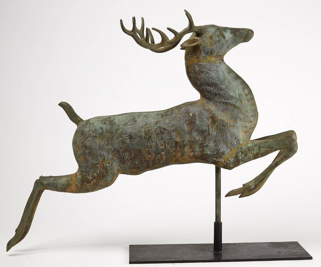 Giampietro sourced this leaping stag weathervane, attributed to Harris & Co., from a local collector. A trade buyer, bidding on the phone, bagged it for $11,562 ($5/10,000).