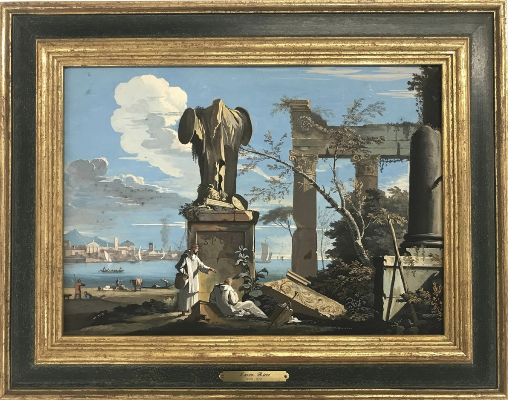 Another Ricci tempera on board, a scene of figures among classical ruins, took $22,800, more than a sixfold increase over expectations. Like the other Ricci work, it was won by a California collector.
