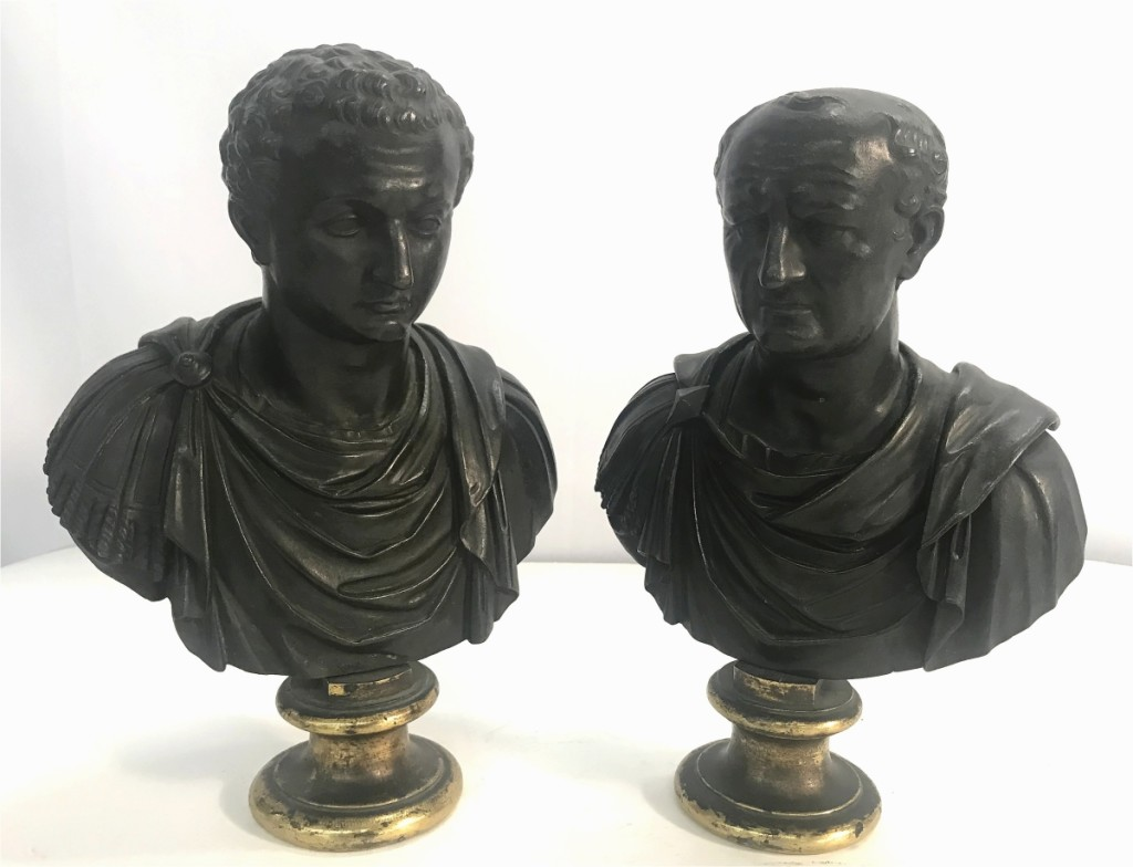 A surprise in the sale came in the form of a pair of Grand Tour bronze busts of Vespasian and Titus, father and son Roman emperors who established the Flavian dynasty. Estimated just $300/500 and from the Hyde Hall consignment, the pair went out at $18,750.