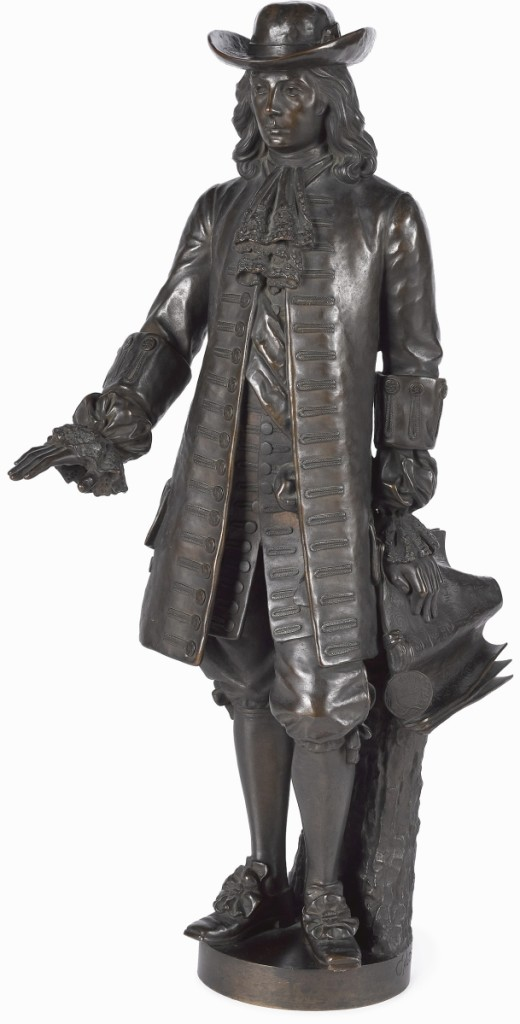 """Alexander Milne Calder's (American, 1846-1923) """"William Penn"""" bronze, at 28 inches, a scaled down version of the well-known statue of Penn that sits atop Philadelphia City Hall, stood tall in the sale, ringing in a final price of $118,750. Deirdre Pook Magarelli, the firm's vice president, said the buyer, an institution bidding online via Bidsquare, was new to Pook & Pook."""