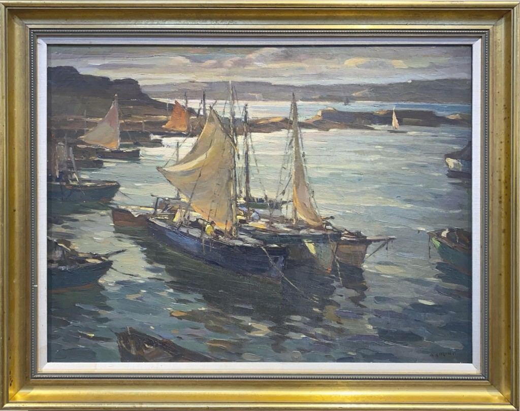 """A private collector bidding online won """"Inner Harbor, Cape Ann"""" by Antonio Cirino (1888-1983) for $10,030. The oil on canvas work measured 24 by 32 inches and was one of eight works by the artist in the sale ($3/6,000)."""