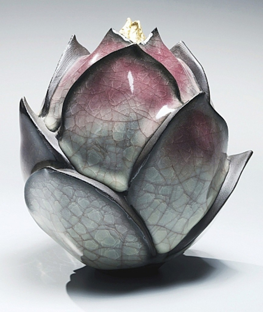 "Gray-blue craquelure celadon-glazed lotus-shaped form tipped with gold by Wakao Kei. ""Fathers and Sons"" exhibition at Joan B Mirviss Ltd., New York City."