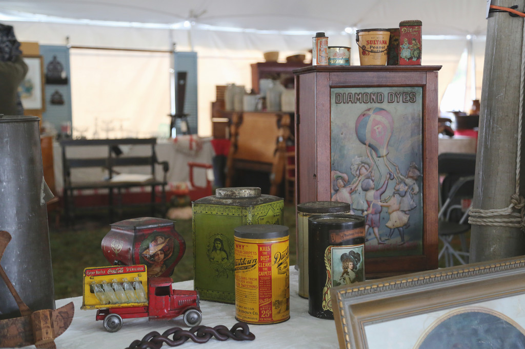 Painted tin in all its forms were on tap with Buy Old Stuff, Portersville, Penn. —Black River Antique Show