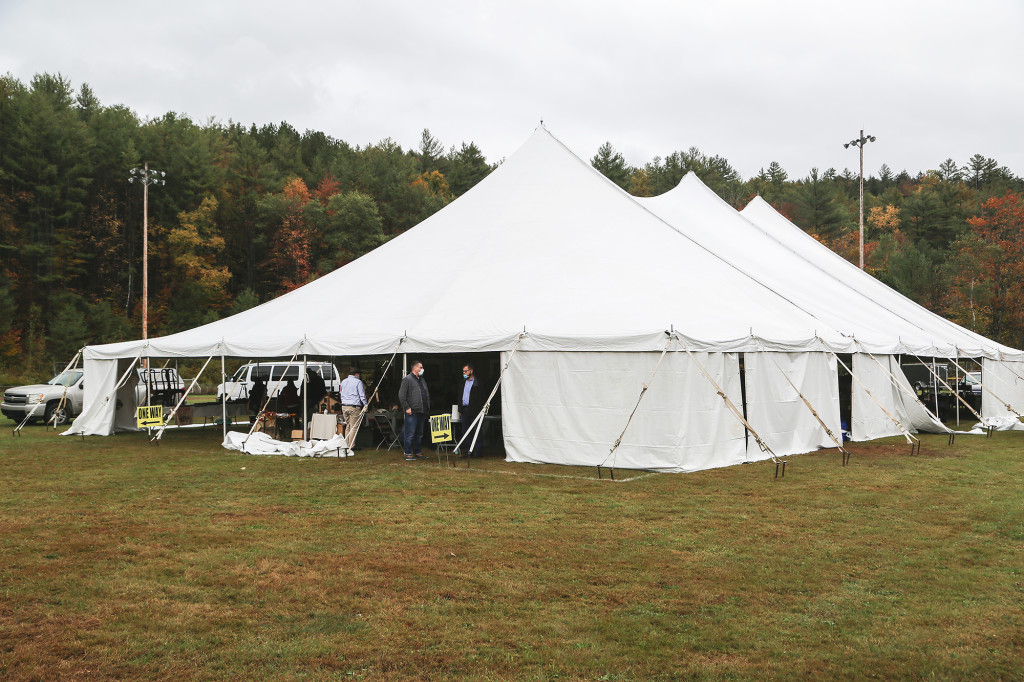 The tent at the Black River Antiques Show, held on the baseball field behind the Ludlow Community Center.