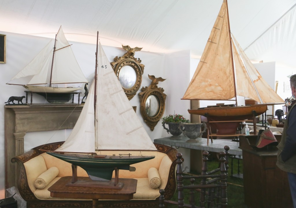 From the Saugerties Antiques Center, Saugerties, N.Y., were these three pond boats that hailed from one collection. The largest example on the right was Dutch while the two on the left were American.           —Antiques At Fletcher Fields