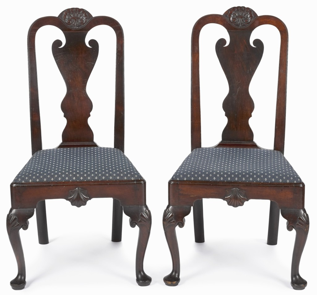 Also from the Bissell collection, a pair of Philadelphia Queen Anne transitional mahogany dining chairs, circa 1765, similarly blew away its $4/7,000 estimate to finish at $52,500. Each featured a cabochon carved crest rail, shell carved seat rail, knees and cabriole legs, terminating in pad feet.