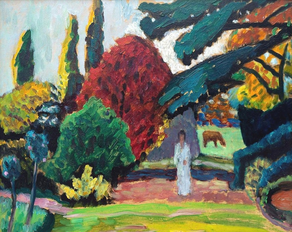 "An international buyer, bidding by phone, acquired ""Dame im Park, Mariahalde"" by Gabriele Münter (German, 1877-1962) for $270,000; it was one of two works by the artist in the sale ($150/250,000)."