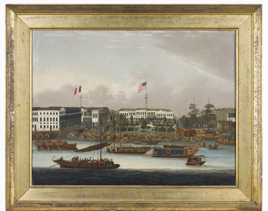 A China Trade mid-Nineteenth Century oil on canvas of the Hongs at Canton went out at $29,280.