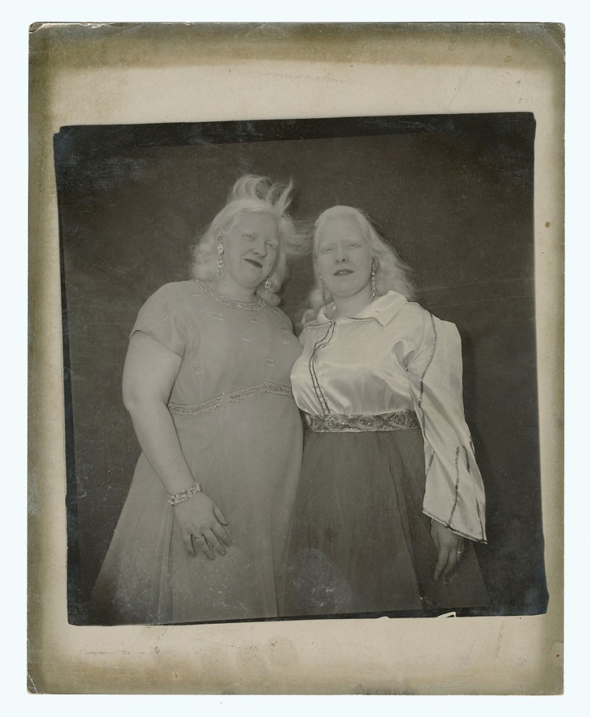 """Albino Sword Swallower and Her Sister,"" a gelatin silver print photograph by Diane Arbus featuring performer Sandra Reed and her sister Doreen, fetched $6,000."